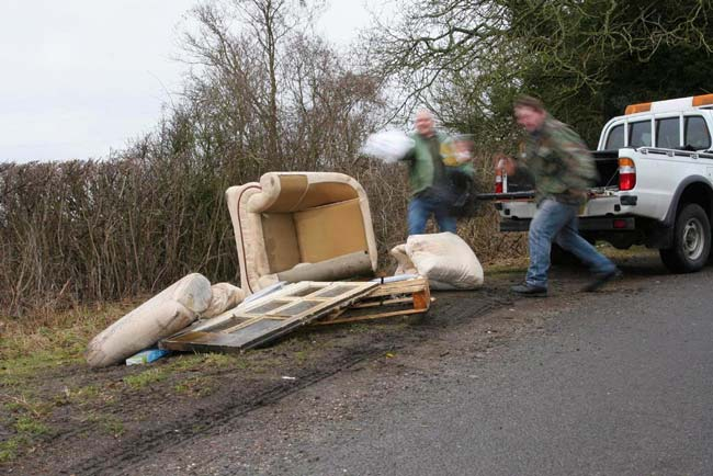Without a waste carrier licence - fly-tipping